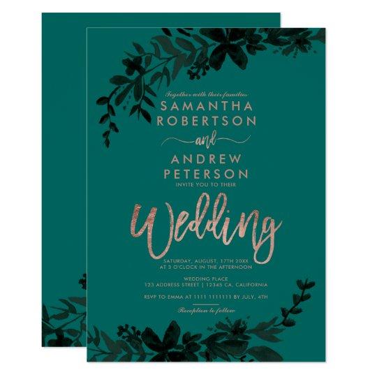 Rose Gold Typography Fl Hunter Green Wedding Invitation