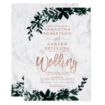 Rose gold typography Floral white marble wedding Invitation