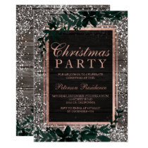 Rose gold typography leaf snow wood Christmas Invitation