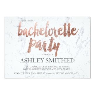 Rose gold typography marble bachelorette party invitation