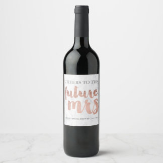 Rose gold typography marble cheers bridal shower wine label