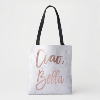 Rose gold typography marble Ciao Bella Tote Bag