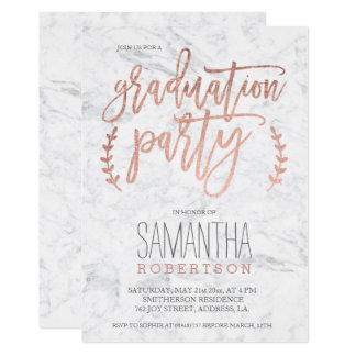 Rose gold typography marble gradutation party card