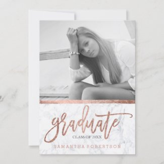 Rose gold typography marble photo graduation announcement
