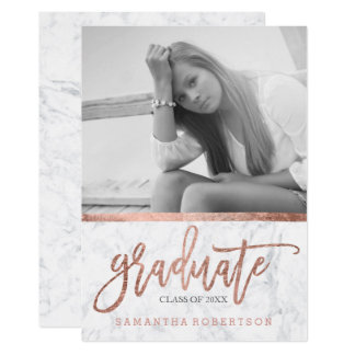 Rose gold typography marble photo graduation card