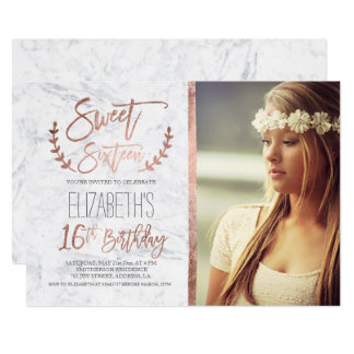 Rose gold typography marble photo Sweet SIxteen Card