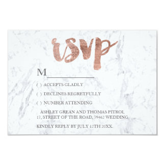 Rose gold typography marble RSVP Wedding Card