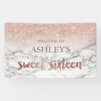 Rose gold typography marble Sweet 16 party Banner