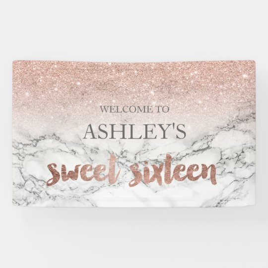 rose gold typography marble sweet 16 party banner zazzle. Black Bedroom Furniture Sets. Home Design Ideas