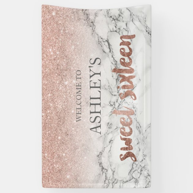 Rose Gold Typography Marble Sweet 16 Party Banner Zazzle Com