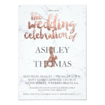 Rose gold typography marble wedding invitation
