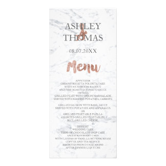 Rose gold typography marble wedding menu