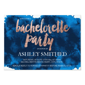 Rose gold typography navy blue bachelorette party card