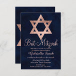 """Rose gold typography navy blue Bat Mitzvah Invitation<br><div class=""""desc"""">Rose gold typography navy blue watercolor Bat Mitzvah invitation. Celebrate your daughter's Bat-Mitzvah with this modern,  simple,  elegant and chic faux rose gold brush hand lettering typography on a navy blue watercolor background. Perfect for simple,  elegant and modern party  Customize the Bat Mitzvah invitation with your own text</div>"""
