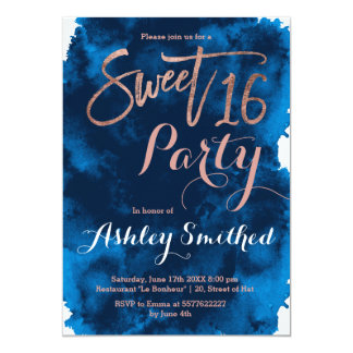 Rose gold typography navy blue watercolor Sweet 16 Card