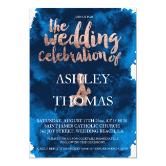 Rose gold typography navy blue watercolor wedding card