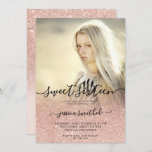 """Rose gold typography pink ombre Sweet 16 photo Invitation<br><div class=""""desc"""">A modern typography,  pretty chic and elegant faux rose gold glitter shower ombre,  add your photo with pastel pink color block Sweet 16 birthday party invitation .</div>"""
