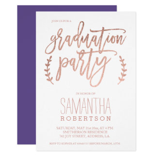 Rose gold typography purple graduation party card