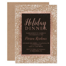 Rose gold typography snow holiday party kraft invitation