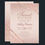 "Rose gold typography stripe glitter blush Sweet 16 Invitation<br><div class=""desc"">A modern,   chic and elegant rose gold typography Sweet sixteen party invitation with rose gold glitter ombre geometric stripes on blush pink</div>"