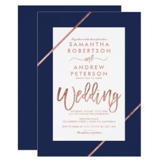 Rose gold typography stripes navy blue wedding invitation