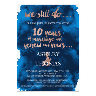 Rose gold typography vow renewal 10th anniversary card