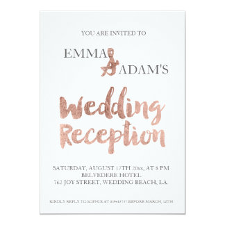 rose gold typography wedding reception faux foil 2 card - Wedding Reception Invites
