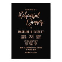 Rose Gold Typography Wedding Rehearsal Dinner Invitation
