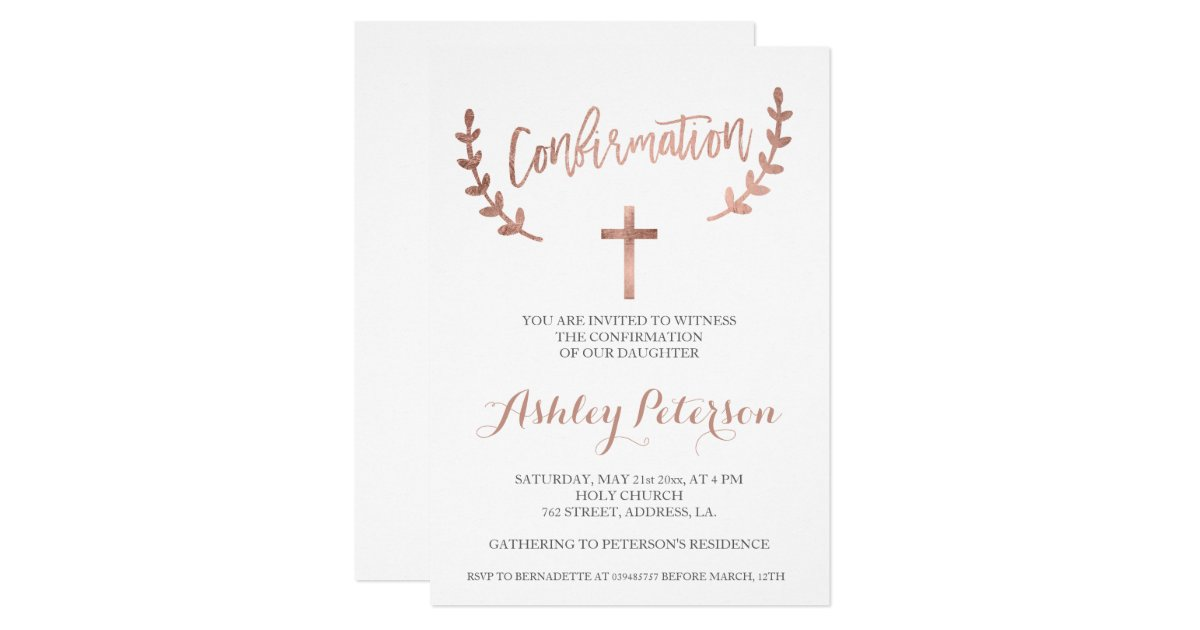 Rose gold typography white simple confirmation invitation