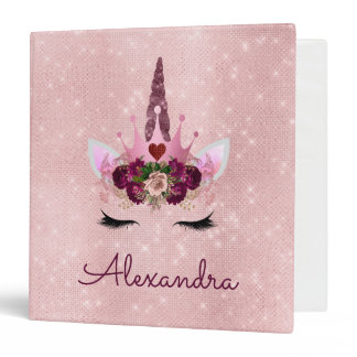 Rose Gold Unicorn Sparkle Princess Monogram Name 3 Ring Binder