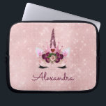 "Rose Gold Unicorn Sparkle Princess Monogram Name Laptop Sleeve<br><div class=""desc"">Rose Gold Unicorn Sparkle Princess Monogram Name Girly Monogram Case. This case can be customized to include your first name. Please contact the designer for matching items.</div>"