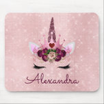 """Rose Gold Unicorn Sparkle Princess Monogram Name Mouse Pad<br><div class=""""desc"""">Blush Pink and Rose Gold Princess Unicorn Sparkle Princess Monogram Name and Initial Mouse pad for School or a Gift. This mousepad is perfect for going back to school.</div>"""