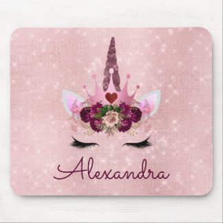Rose Gold Unicorn Sparkle Princess Monogram Name Mouse Pad