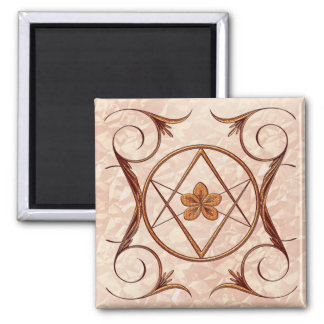 Rose Gold Unicursal 2 Inch Square Magnet