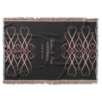 Rose Gold Vintage Flourishes, Personalized Throw Blanket