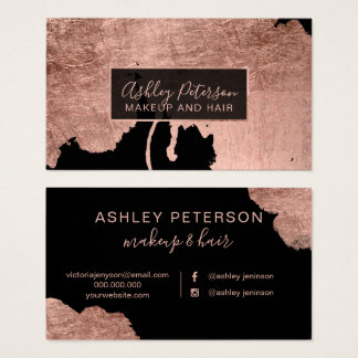 Rose gold watercolor drips hair makeup typography business card