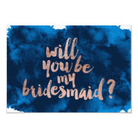 Rose gold watercolor Will you be my bridesmaid Card
