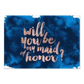 Rose gold watercolor Will you be my maid of honor Card