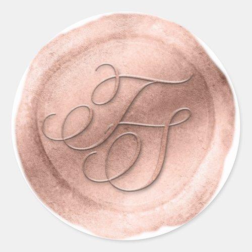 Rose Gold Wax Seal Look 2 Letter Monogram Sticker