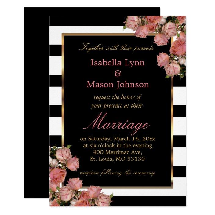 Rose Gold Wedding Black White Stripe Invitation Zazzle Com