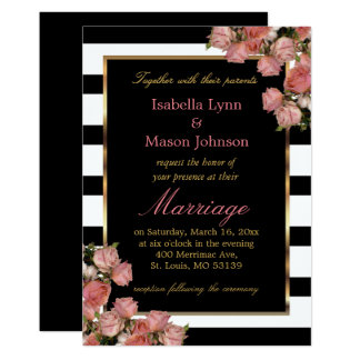 Rose Gold Wedding Black & White Stripe Invitation