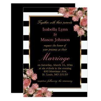 Rose Gold Wedding Black & White Stripe Invitation