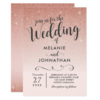 Rose Gold Wedding Invitation, Ombre Pink Card