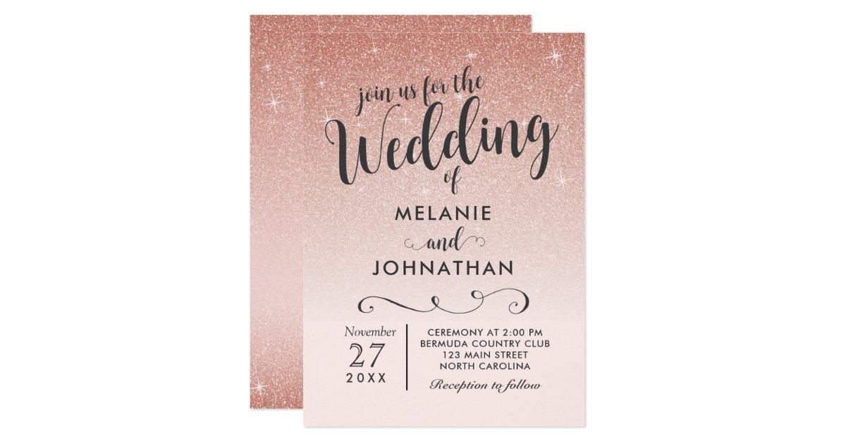 Ombre Wedding Invitation: Rose Gold Wedding Invitation, Ombre Pink Invitation