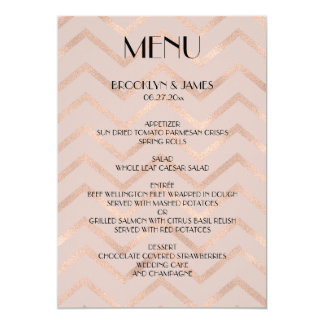 Rose Gold Wedding Menu Chevron Cards