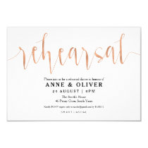 Rose Gold Wedding Rehearsal Dinner Invitations