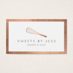 Rose Gold Whisk Bakery Business Card at Zazzle