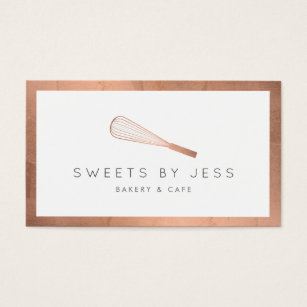 Bakery business cards 5200 bakery business card templates rose gold whisk bakery business card reheart Images