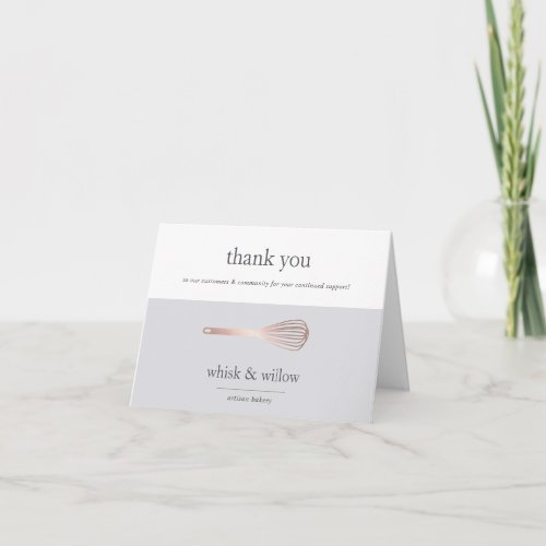 Rose Gold Whisk  Bakery or Caterer Business Thank You Card
