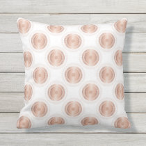Rose Gold White Dots Pattern Outdoor Pillow